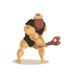 angry cyclops caveman with a cudgel ancient vector image