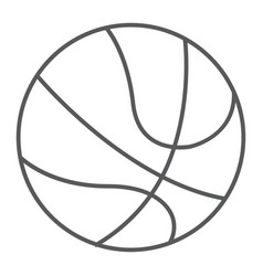 basketball ball thin line icon sport and game vector image