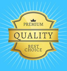 best premium quality golden label guarantee award vector image