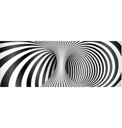 Black and white lines optical illusion background vector