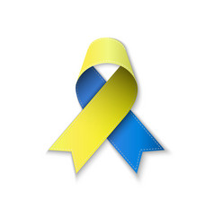 Blue and yellow ribbon low poly vector
