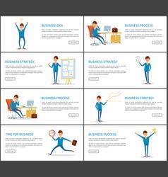 Business process idea and success businessman vector
