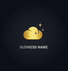 cloud shine gold logo vector image