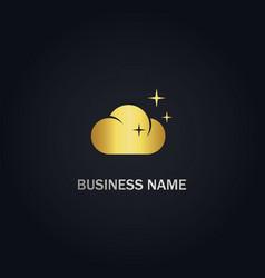cloud shine gold logo vector image