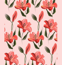 coral lily red calla or contrast tulip flowers on vector image