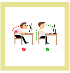 correct sitting posture vector image