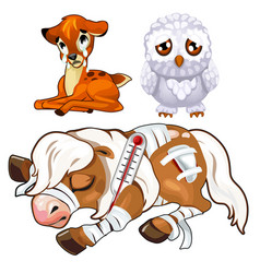 Crying deer sad owl and sick horse animal vector