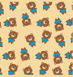 cute bears father and son characters pattern vector image
