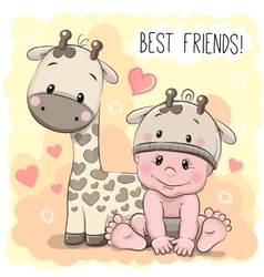 Cute Cartoon Baby and giraffe vector