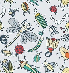 Cute cartoon insect pattern Summer concept texture vector image