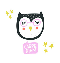 cute owl face vector image