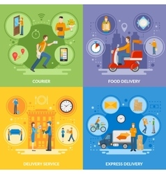Delivery Courier People 2x2 Flat Icons Set vector