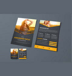 design of a black brochure with orange arrows and vector image