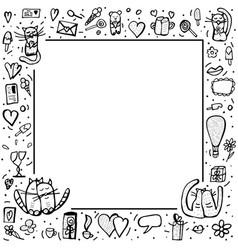 doodle set of love symbols vector image