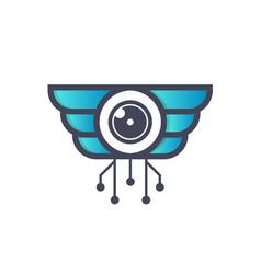 Drone tech logo design vector