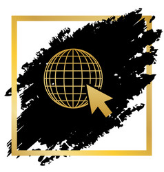 earth globe with cursor golden icon at vector image