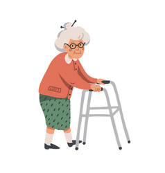elderly woman old lady character with paddle vector image
