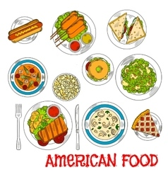 Famous main and dessert dishes of american cuisine vector