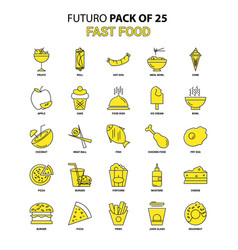fast food icon set yellow futuro latest design vector image