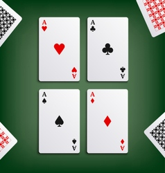 Four aces for poker game vector