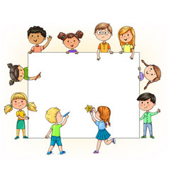 Funny children hold and paint blank banner with vector