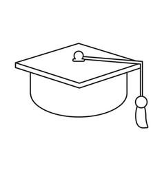 Gaduation cap education symbol thin line vector
