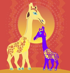 giraffes in the sun vector image