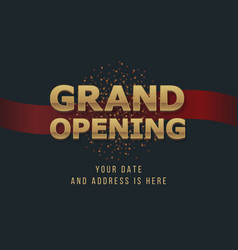 Grand opening 3d gold word sign background vector