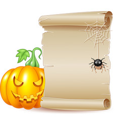 halloween scroll banner with scary pumpkin and spi vector image