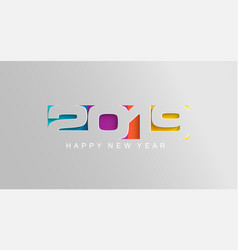 happy 2019 new year card in paper style vector image