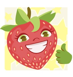 Happy Strawberry doing thumbs up vector