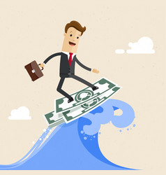happy successful businessman surfing on the wave vector image