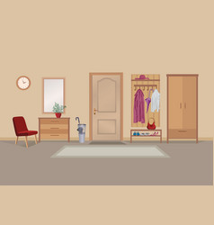 home hallway interior with door room view hall vector image