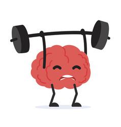 Human brain cartoon lifting weights vector