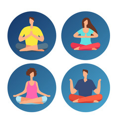 icons with meditation people in lotus position vector image