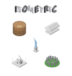 isometric attraction set of new york athens vector image