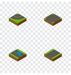 Isometric way set of crossroad road unilateral vector