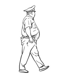 kazakhstan police officer plus-size overweight vector image