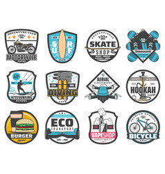 leisure activity sport adventure travel badges vector image