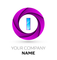 Letter i logo symbol in the colorful circle vector