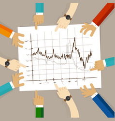 line chart team work on paper looking to graph vector image