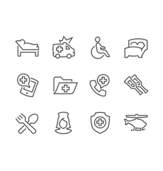 Lined Medical Transportation Icons vector