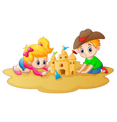 little boy and girl making sandcastle at beach vector image
