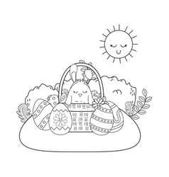little chick with ears rabbit in basket and eggs vector image