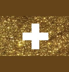 Luxury golden glitter swiss switzerland country vector