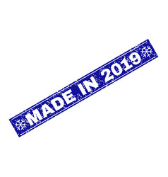 made in 2019 grunge rectangle stamp seal with vector image