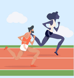 Man and woman attractive running in racetrack vector
