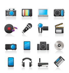 Media and technology icons vector image