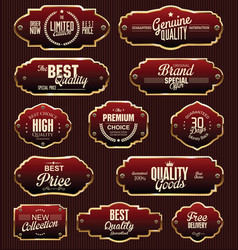 Metal plates premium quality gold and red vector