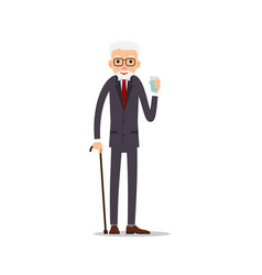 old man elderly man standing and holding a glass vector image
